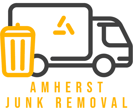 Logo for Amherst Junk Removal - garbage truck with a trash can and text below it